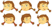 Variations of a girl's faces — Stock Vector