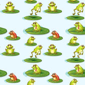 Seamless design of the frogs at the pond — Stock Vector
