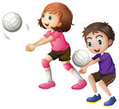Kids playing volleyball — Stock Vector