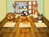 Aimals in classroom — Stock Vector