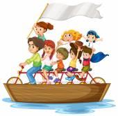 Crianças no barco — Vetorial Stock