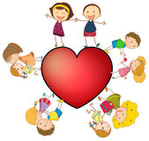 Children and heart — Vector de stock