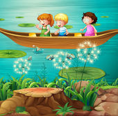 Children rowing boat in pond — Stock Vector