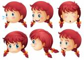 Girl expressions — Stock Vector