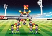 Cheerleading team — Stock Vector