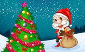 Santa near the big christmas tree — Stock Vector
