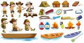 Campers and the things used during camping — Stock Vector