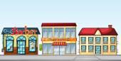 Shops on street — Stok Vektör
