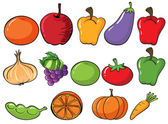 Healthy fruits and vegetables — Stock Vector