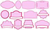 Empty pink label templates — Stock Vector