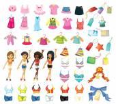 Girl dress set — Stock Vector