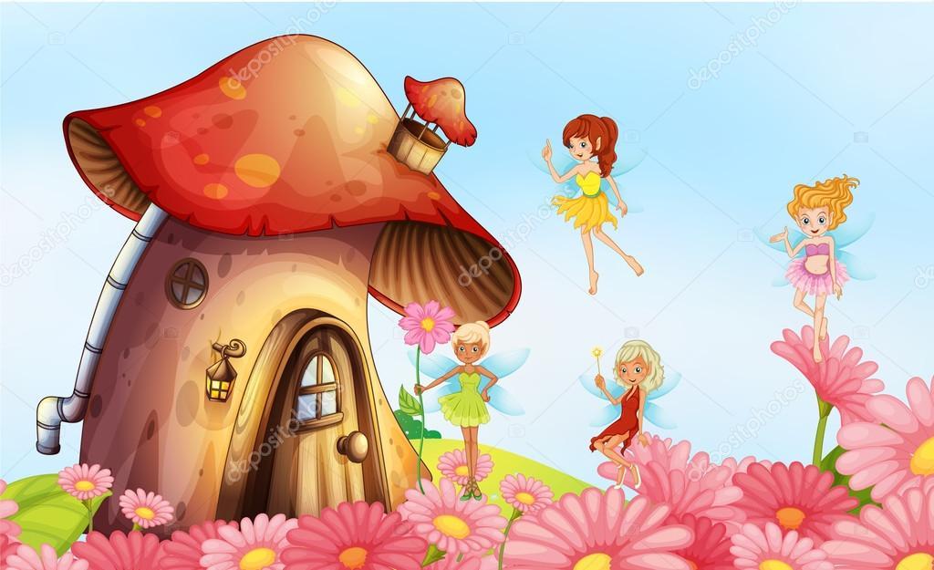 仙女的大蘑菇房 — 图库矢量图像08