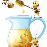 abeilles et miel — Vecteur #52594159