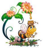 Bee and flowers — Stock Vector