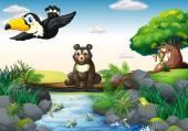 Animals and stream — Stock Vector