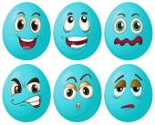 Blue egg expressions — Stock Vector