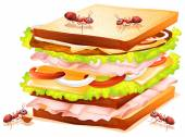 Sandwich and ants — Stock Vector