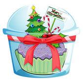 Christmas cupcake — Stock Vector