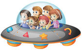 Children in spaceship — Stock Vector