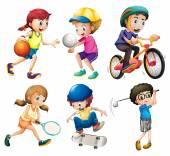 Children and sports — Vecteur