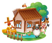 Animals and cottage — Stock Vector