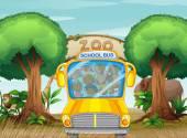 School bus in front of a zoo — Stock Vector