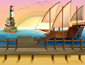 Boat and pier — Stock Vector