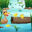 A pond with happy animals — Stock Vector #52859291