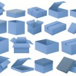 Set of blue boxes — Stock Vector #52859361