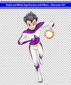 A violet and white superhero with a blazing power — Stock Vector