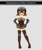 A vintage female superhero — Stock Vector