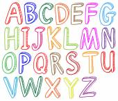 Colorful font styles of the alphabet — Stock Vector