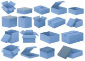 Set of blue boxes — Vecteur