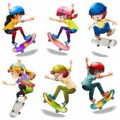 Male and female skaters — Stock Vector