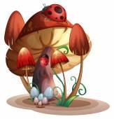 A mushroom with a ladybug — Stock Vector