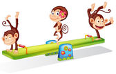 Three playful monkeys playing with the seesaw — Stock Vector