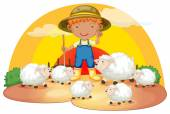 A young boy with his sheeps — Stock Vector