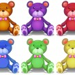 Colorful teddy bears — Vetor de Stock  #53281897