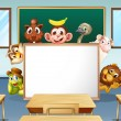 Animals in classroom — Stock Vector #53282171