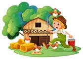 Farmer and barn — Stock Vector