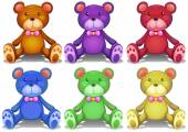 Colorful teddy bears — Stockvector