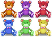 Colorful teddy bears — Stock Vector