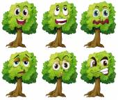 Trees with face — Stock Vector