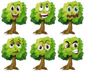 Trees with face — Stockvector