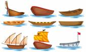 Boat set — Stock Vector