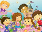 Children and flowers — Stock Vector