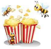Bees and popcorn — Stock Vector