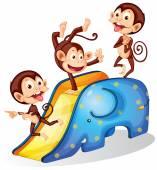 Monkeys and slide — Stockvector
