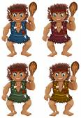 Caveman Illustration — Stock Vector