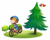 Boy and bike — Stock Vector